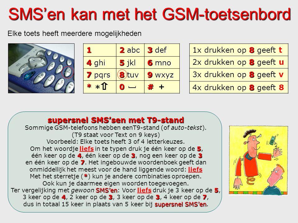 SMS'en kan met het GSM-toetsenbord