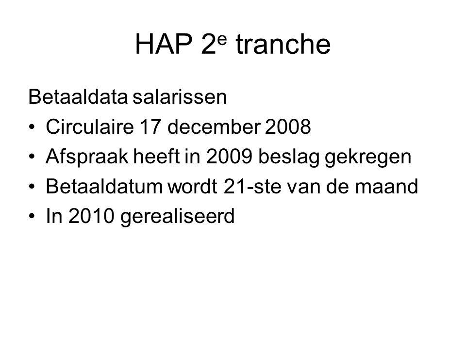 HAP 2e tranche Betaaldata salarissen Circulaire 17 december 2008