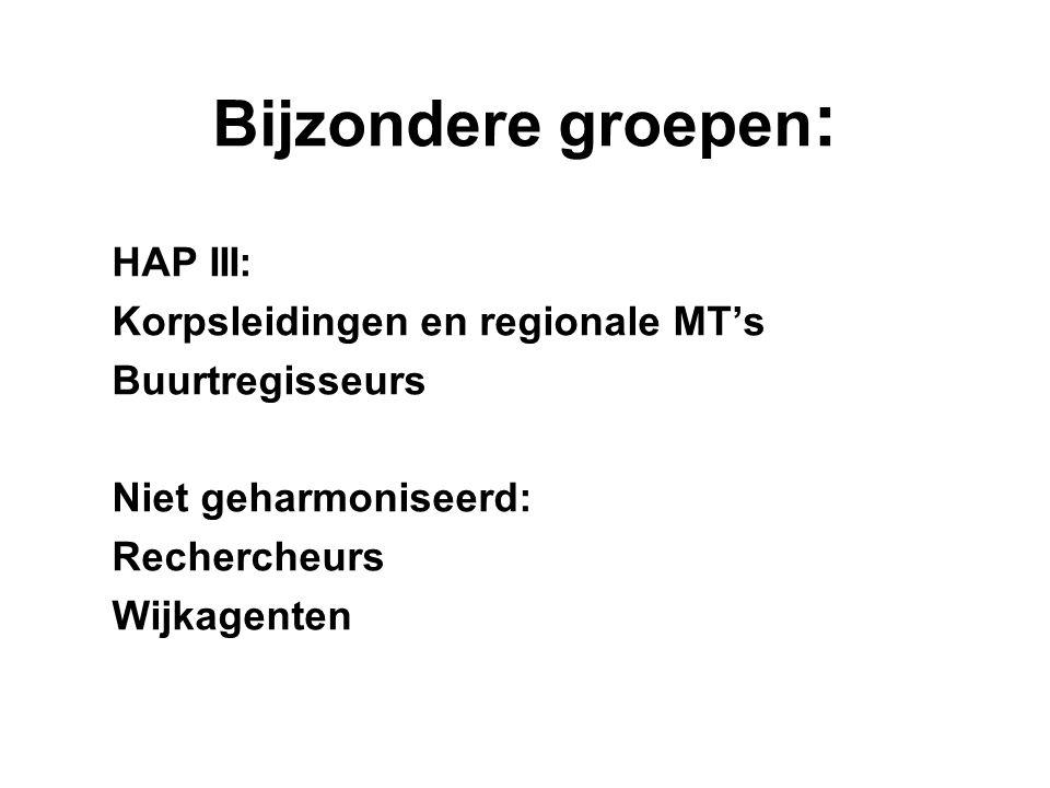 Bijzondere groepen: HAP III: Korpsleidingen en regionale MT's