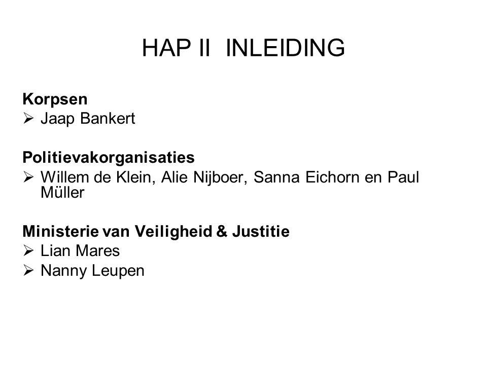 HAP II INLEIDING Korpsen Jaap Bankert Politievakorganisaties