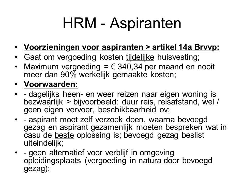 HRM - Aspiranten Voorzieningen voor aspiranten > artikel 14a Brvvp: