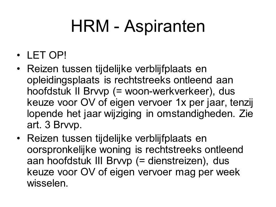 HRM - Aspiranten LET OP!