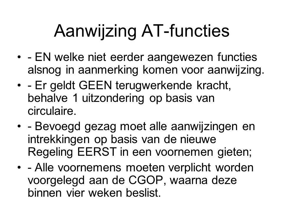 Aanwijzing AT-functies