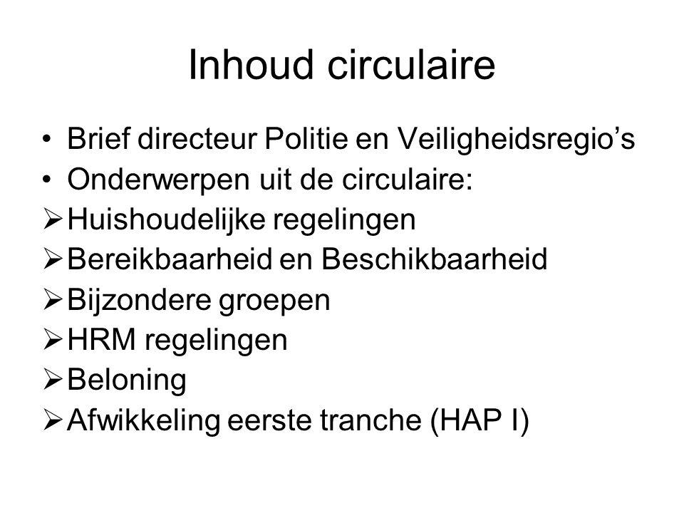 Inhoud circulaire Brief directeur Politie en Veiligheidsregio's