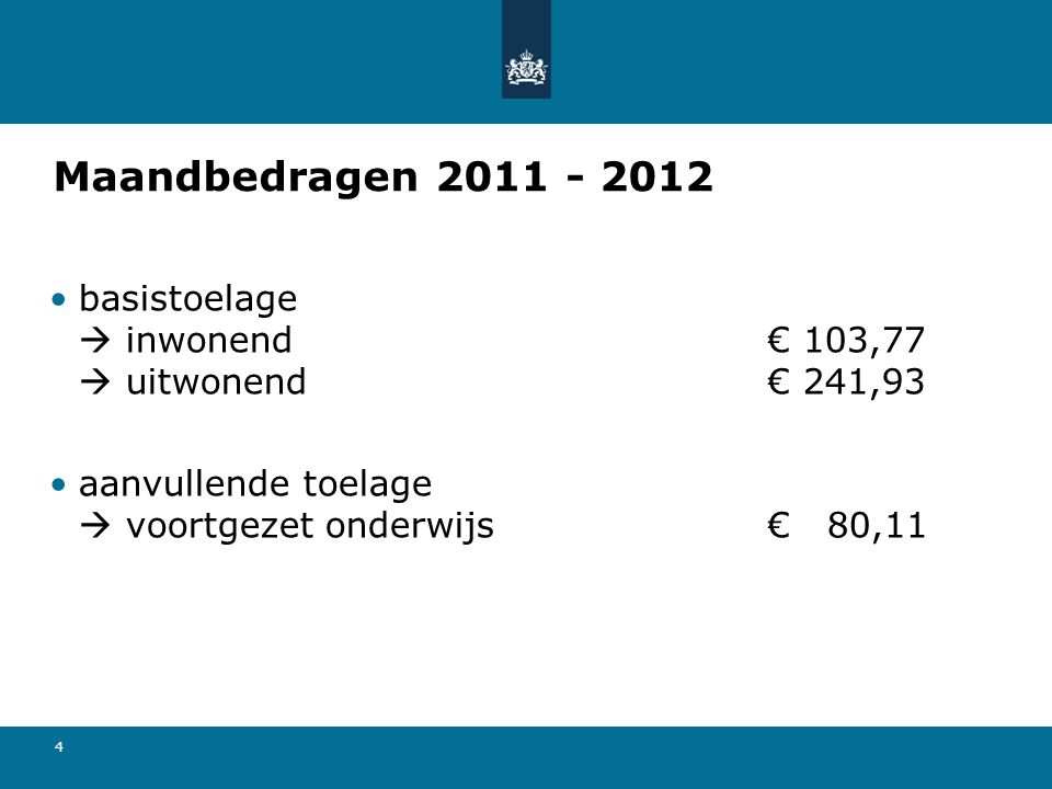 Maandbedragen 2011 - 2012 basistoelage  inwonend € 103,77  uitwonend € 241,93.