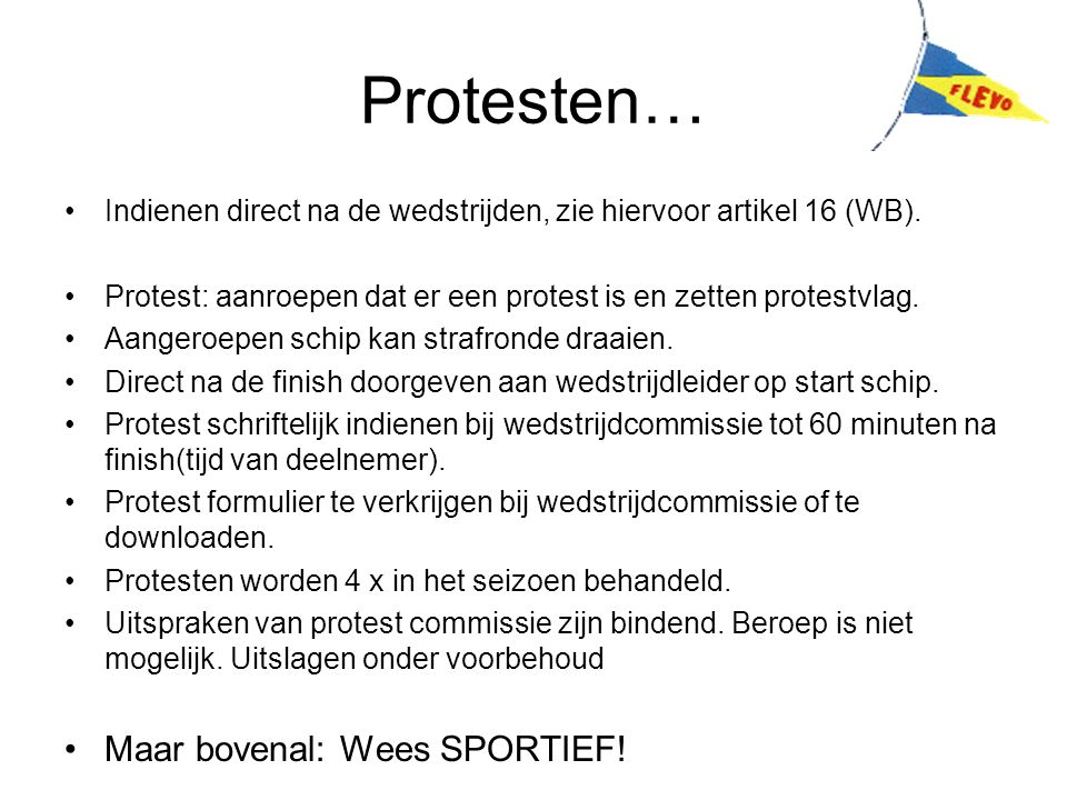 Protesten… Maar bovenal: Wees SPORTIEF!