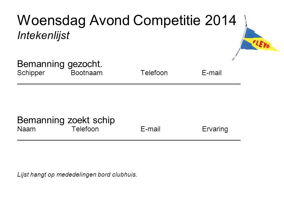 Woensdag Avond Competitie 2014 Intekenlijst