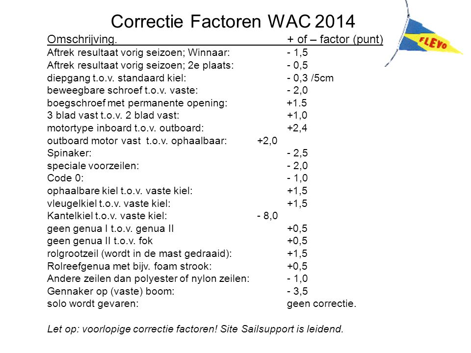 Correctie Factoren WAC 2014
