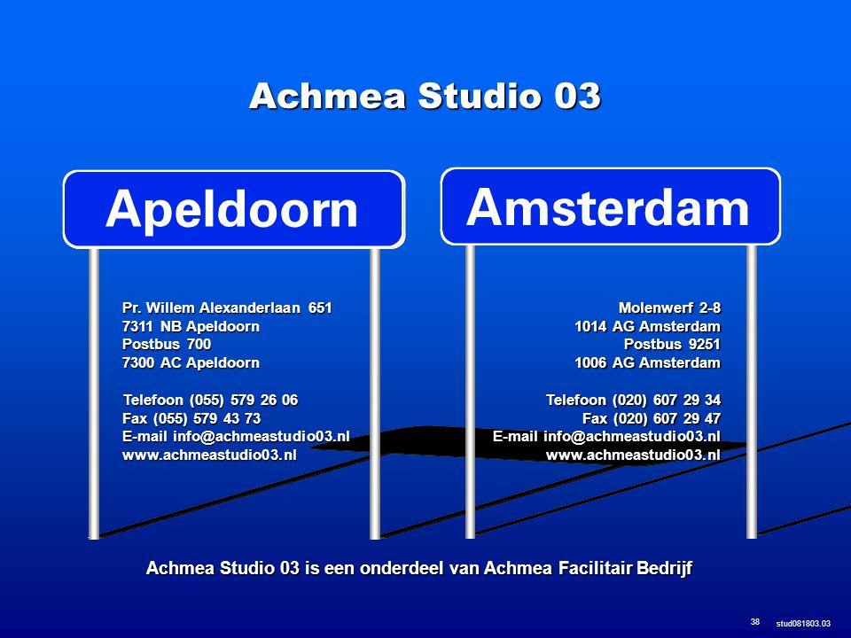 Achmea Studio 03 is een onderdeel van Achmea Facilitair Bedrijf