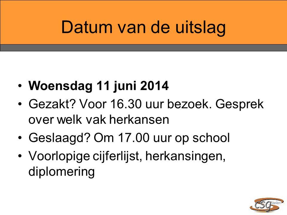 Datum van de uitslag Woensdag 11 juni 2014