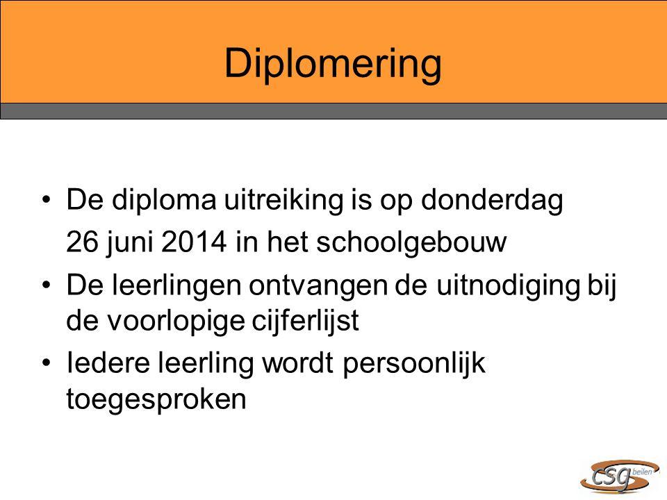 Diplomering De diploma uitreiking is op donderdag