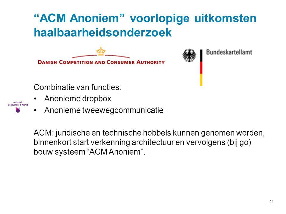 ACM Anoniem voorlopige uitkomsten haalbaarheidsonderzoek