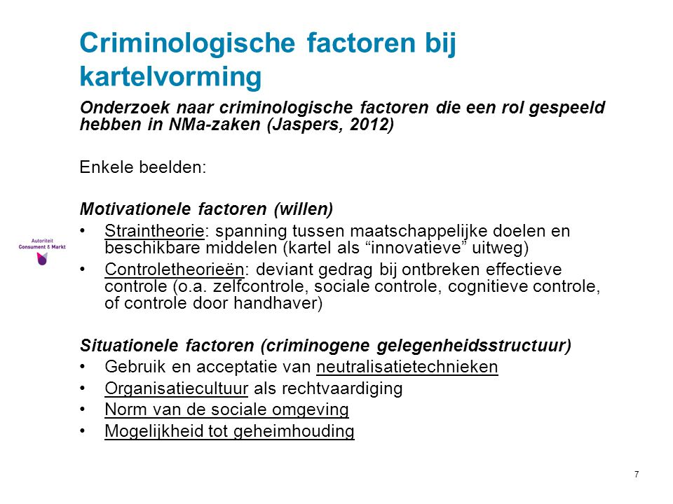 Criminologische factoren bij kartelvorming
