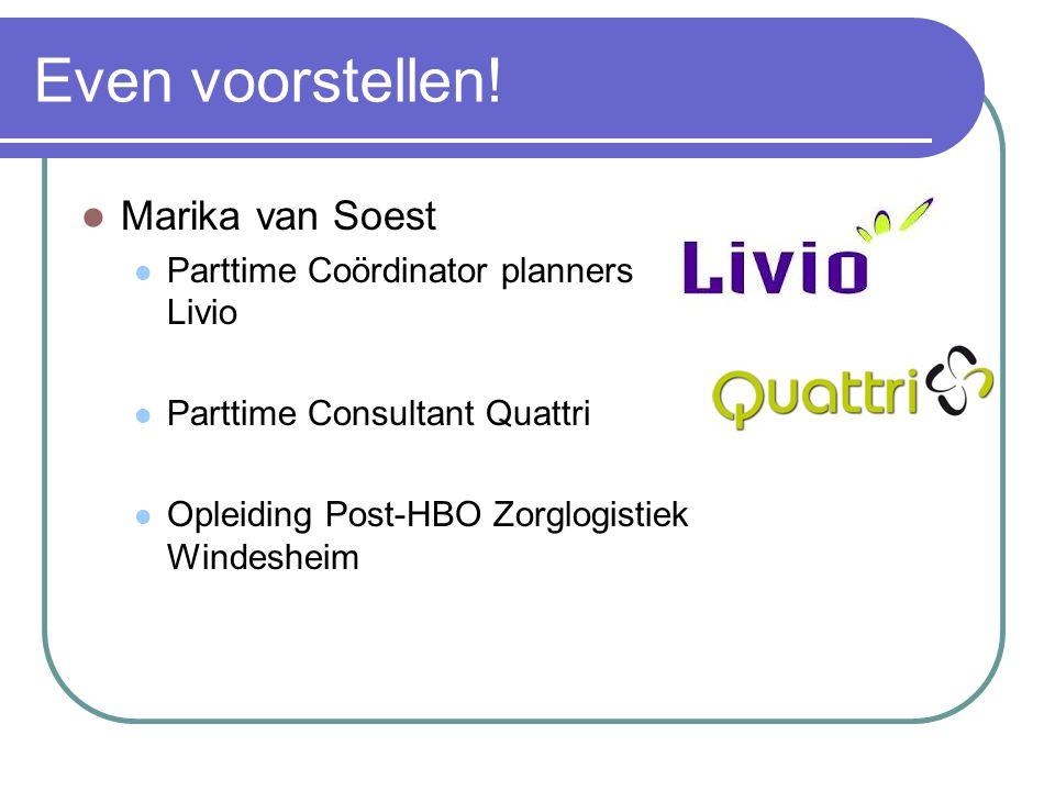 Even voorstellen! Marika van Soest Parttime Coördinator planners Livio