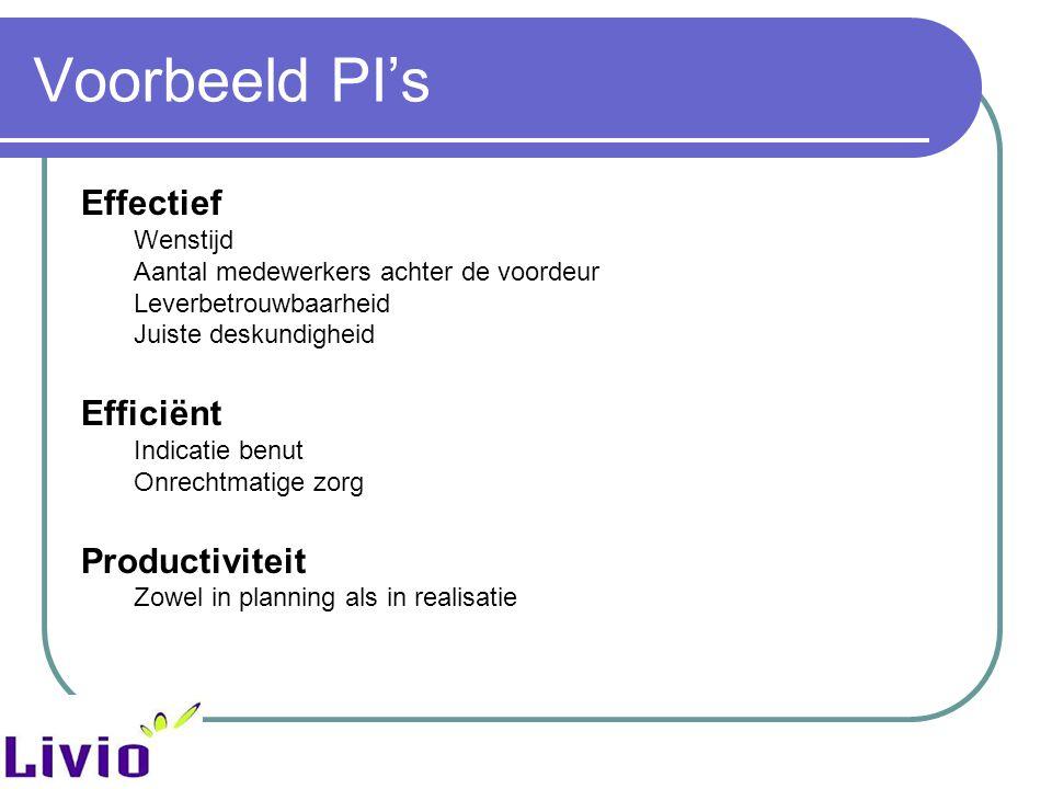 Voorbeeld PI's Effectief Efficiënt Productiviteit Wenstijd