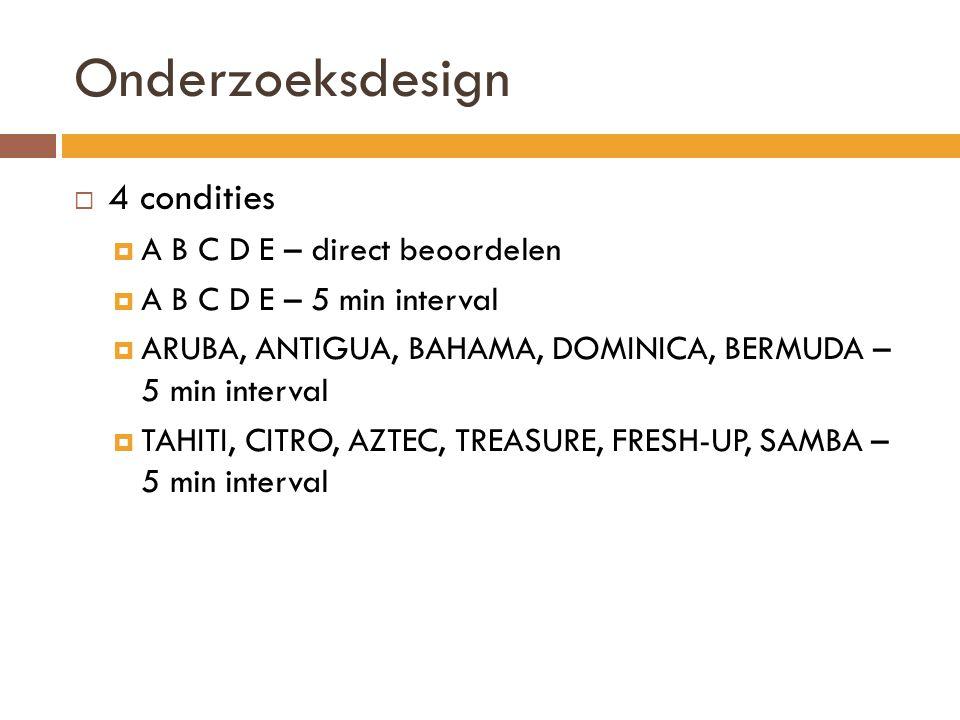 Onderzoeksdesign 4 condities A B C D E – direct beoordelen