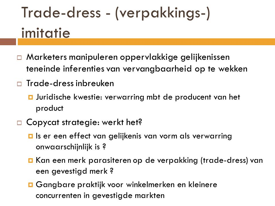 Trade-dress - (verpakkings-) imitatie