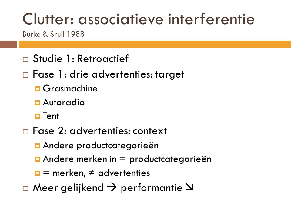 Clutter: associatieve interferentie Burke & Srull 1988