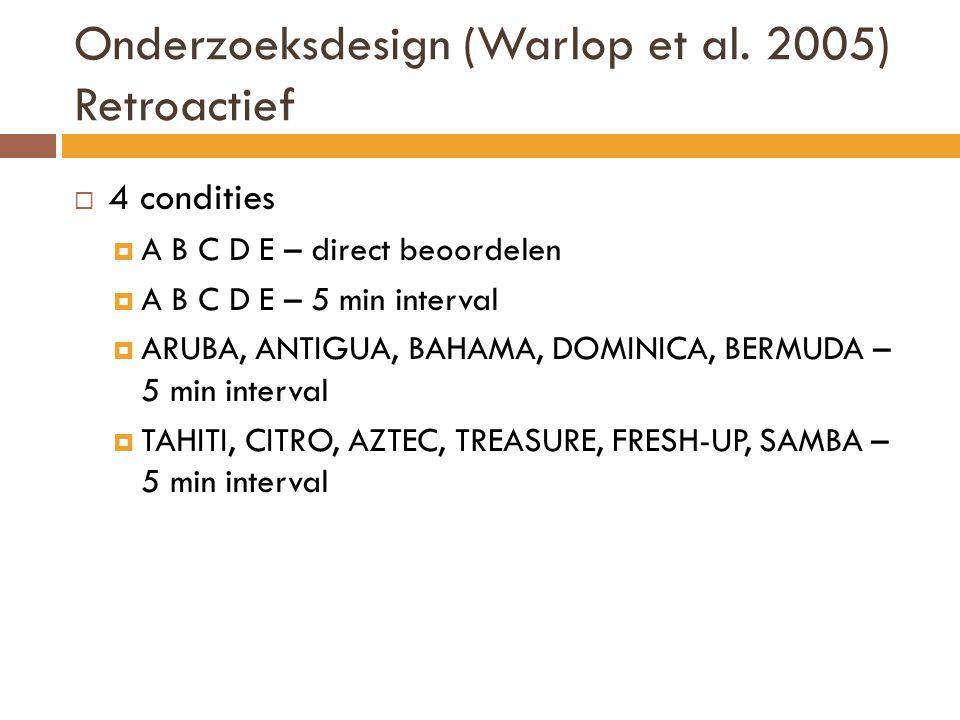 Onderzoeksdesign (Warlop et al. 2005) Retroactief