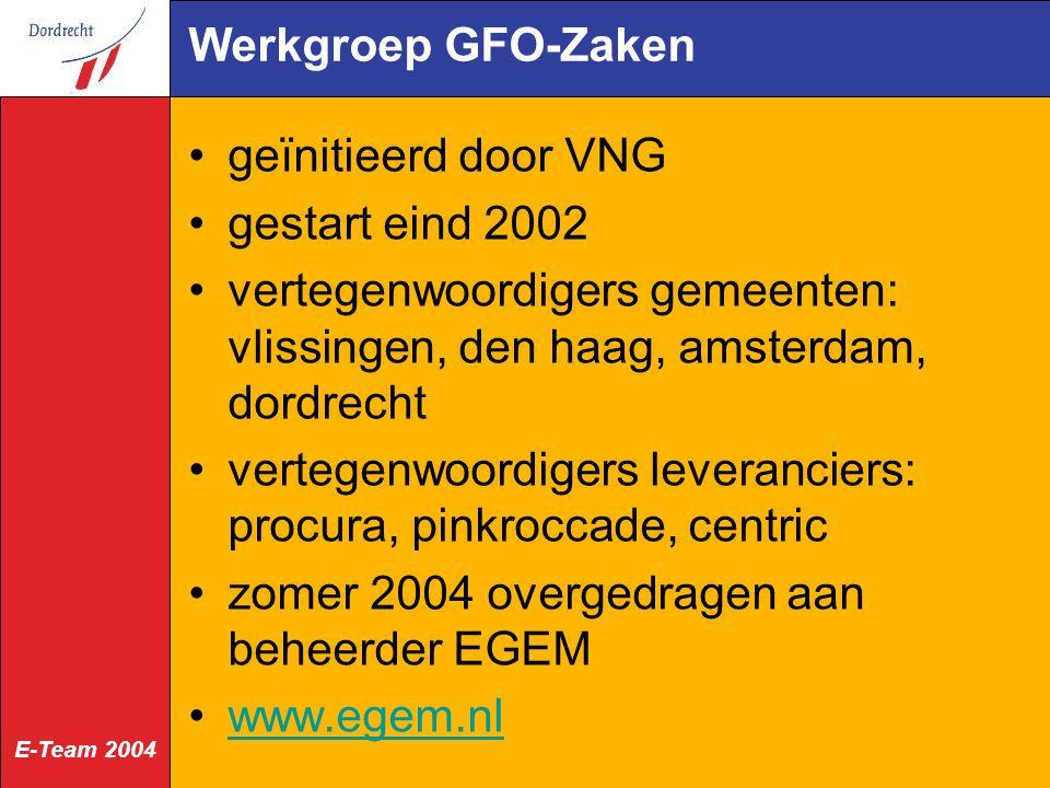 Werkgroep GFO-Zaken geïnitieerd door VNG. gestart eind 2002. vertegenwoordigers gemeenten: vlissingen, den haag, amsterdam, dordrecht.