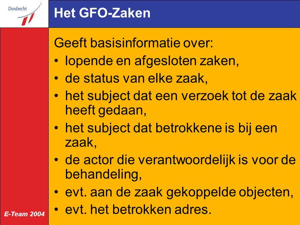 Het GFO-Zaken Geeft basisinformatie over: lopende en afgesloten zaken, de status van elke zaak,