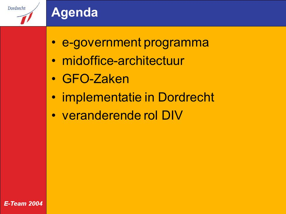 Agenda e-government programma. midoffice-architectuur.
