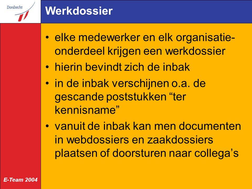 Werkdossier elke medewerker en elk organisatie-onderdeel krijgen een werkdossier. hierin bevindt zich de inbak.