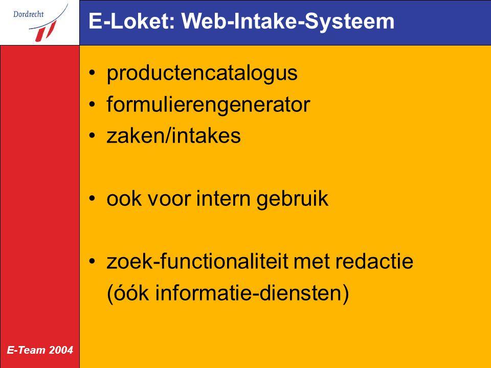 E-Loket: Web-Intake-Systeem