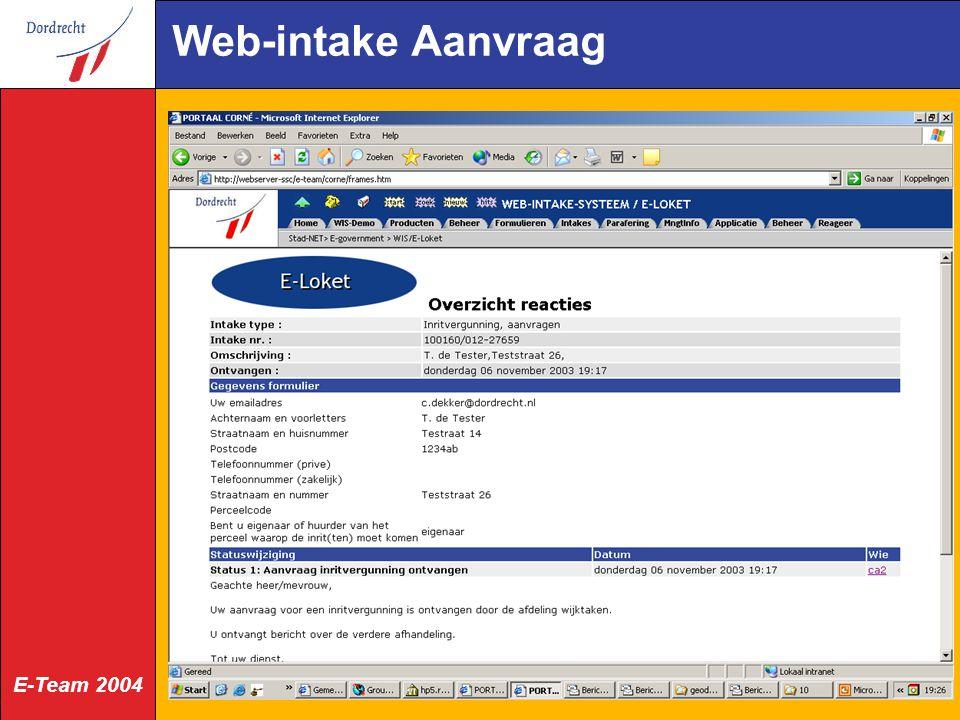Web-intake Aanvraag