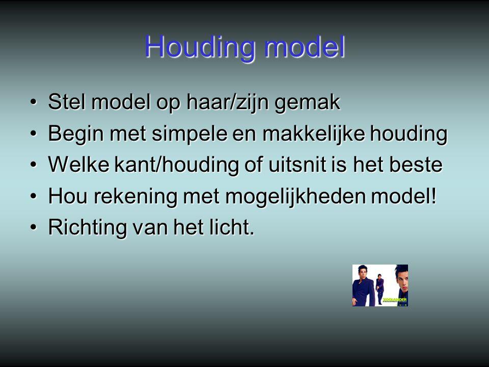 Houding model Stel model op haar/zijn gemak