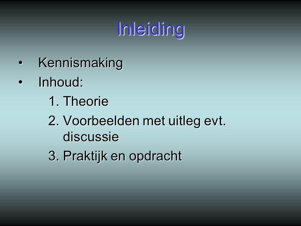 Inleiding Kennismaking Inhoud: 1. Theorie