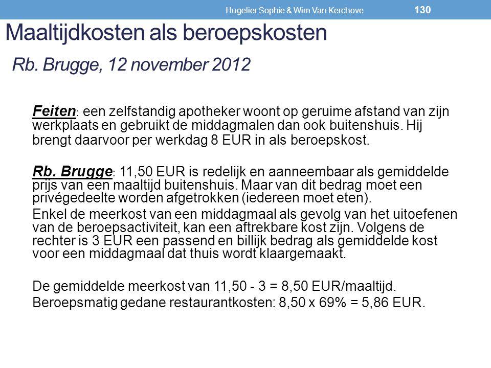 Maaltijdkosten als beroepskosten Rb. Brugge, 12 november 2012