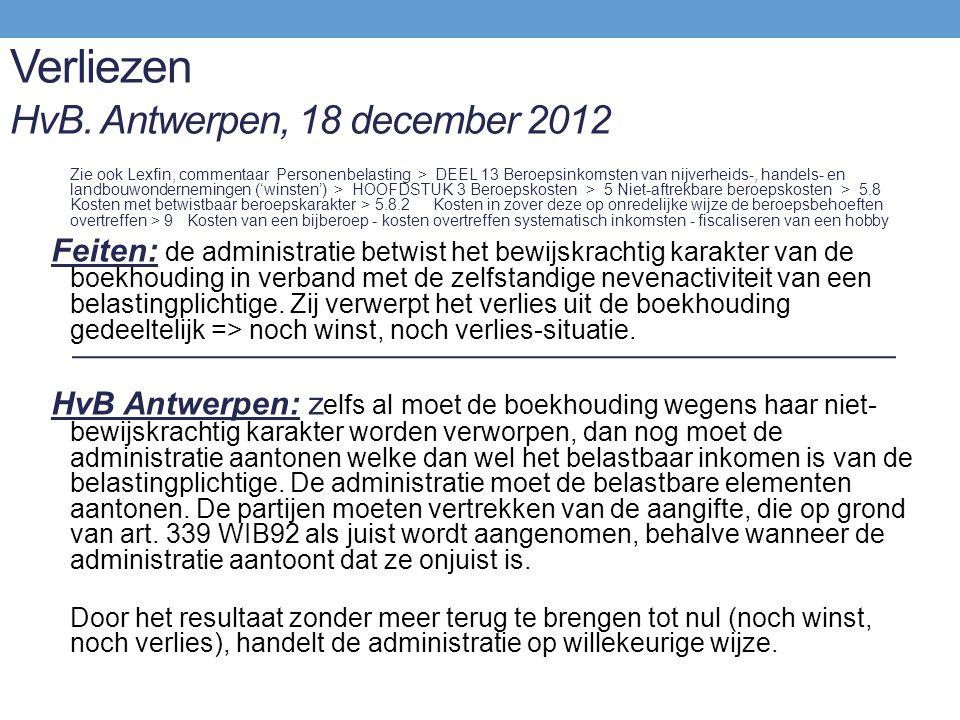 Verliezen HvB. Antwerpen, 18 december 2012
