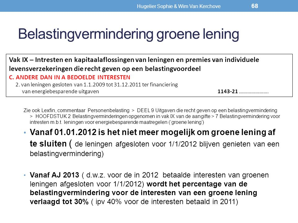 Belastingvermindering groene lening