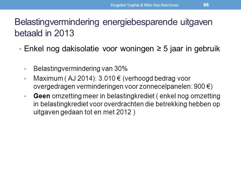 Belastingvermindering energiebesparende uitgaven betaald in 2013