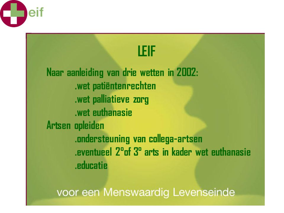 LEIF Naar aanleiding van drie wetten in 2002: .wet patiëntenrechten