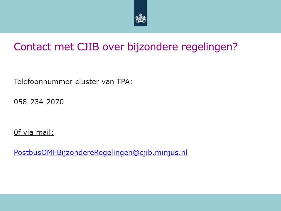 Contact met CJIB over bijzondere regelingen