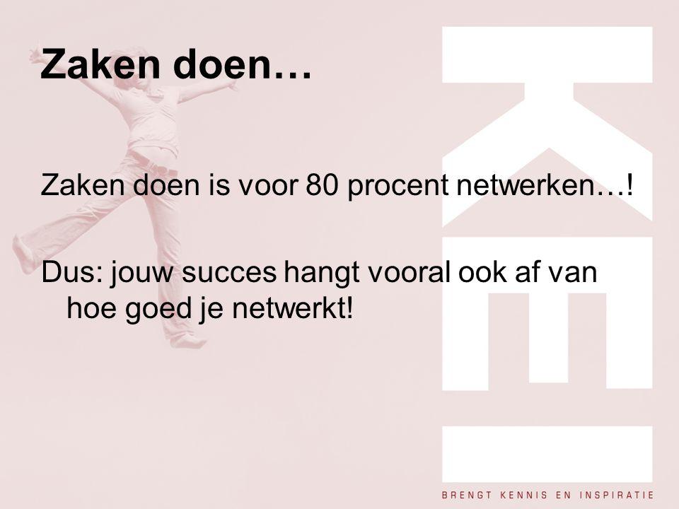 Zaken doen… Zaken doen is voor 80 procent netwerken…!