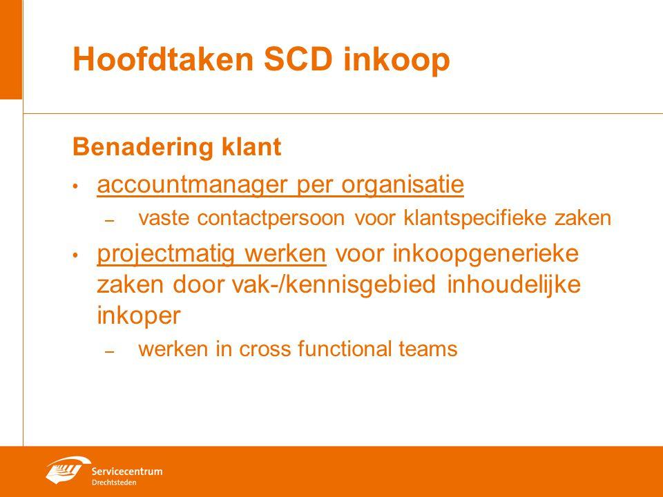 Hoofdtaken SCD inkoop Benadering klant accountmanager per organisatie