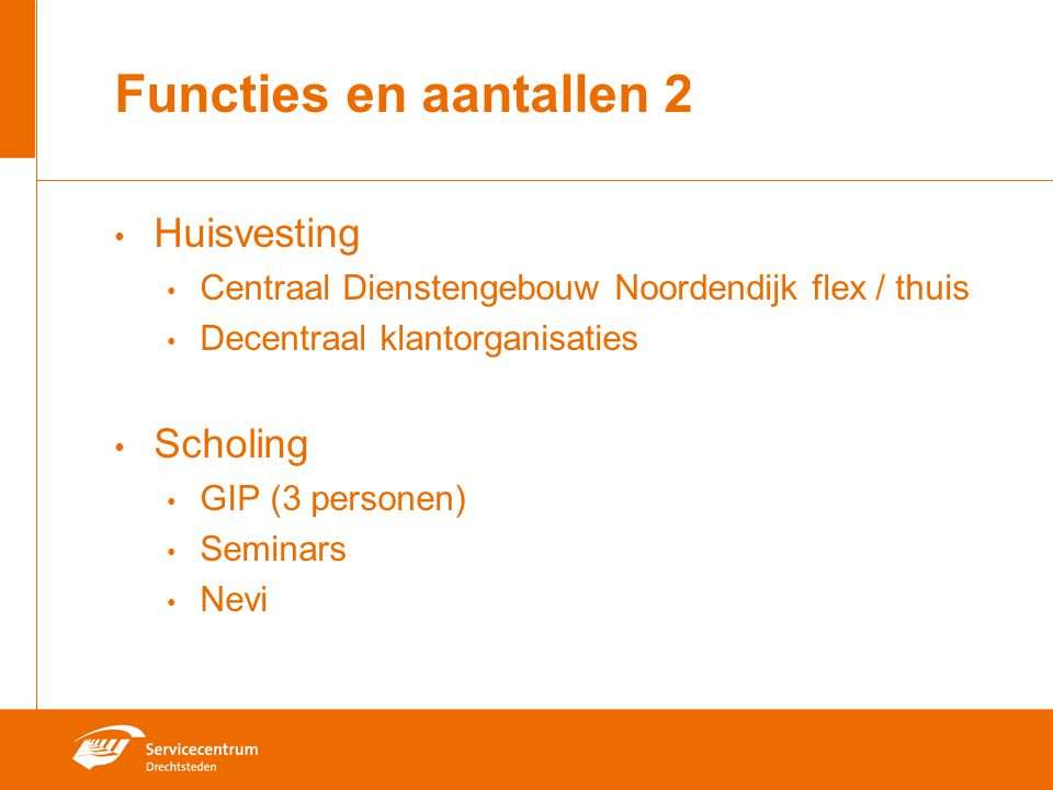 Functies en aantallen 2 Huisvesting Scholing