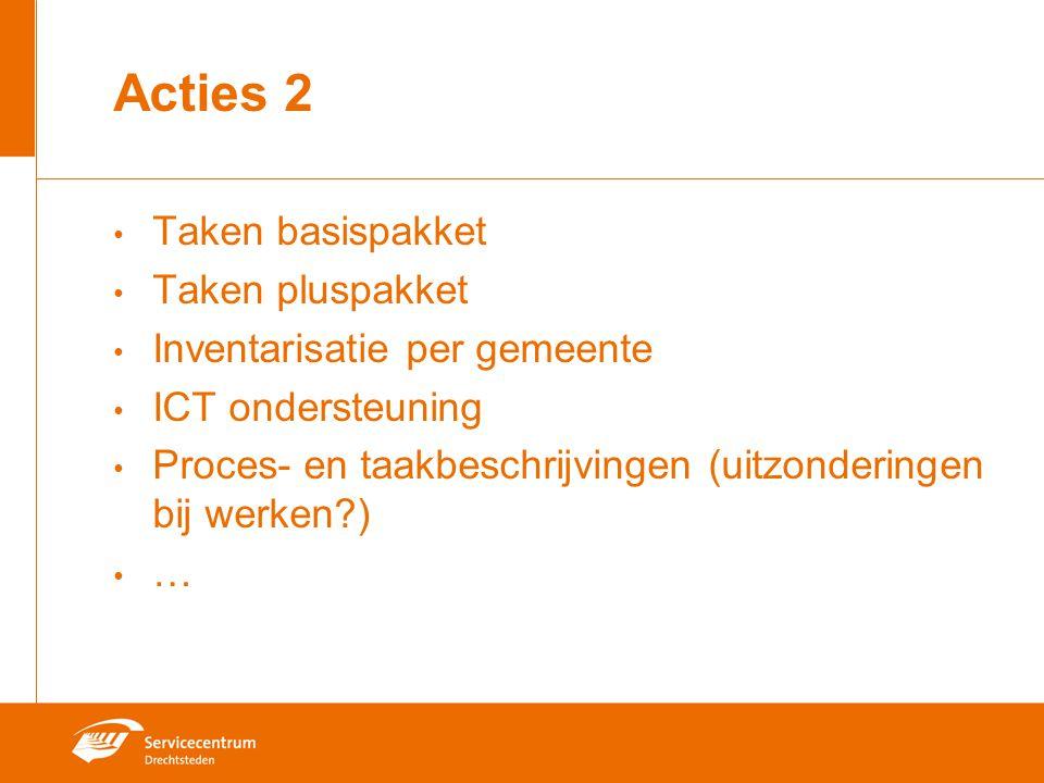 Acties 2 Taken basispakket Taken pluspakket