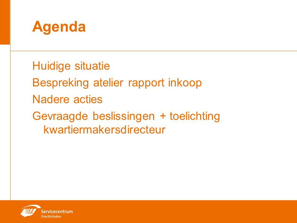 Agenda Huidige situatie Bespreking atelier rapport inkoop Nadere acties Gevraagde beslissingen + toelichting kwartiermakersdirecteur