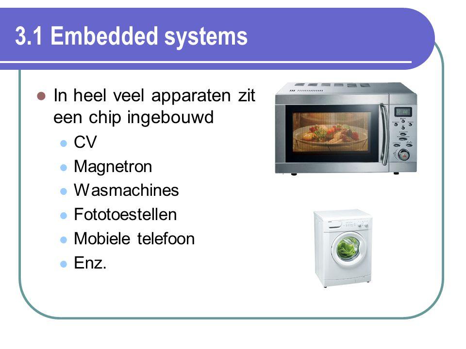 3.1 Embedded systems In heel veel apparaten zit een chip ingebouwd CV