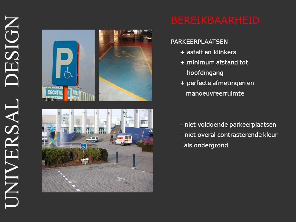 UNIVERSAL DESIGN BEREIKBAARHEID PARKEERPLAATSEN + asfalt en klinkers