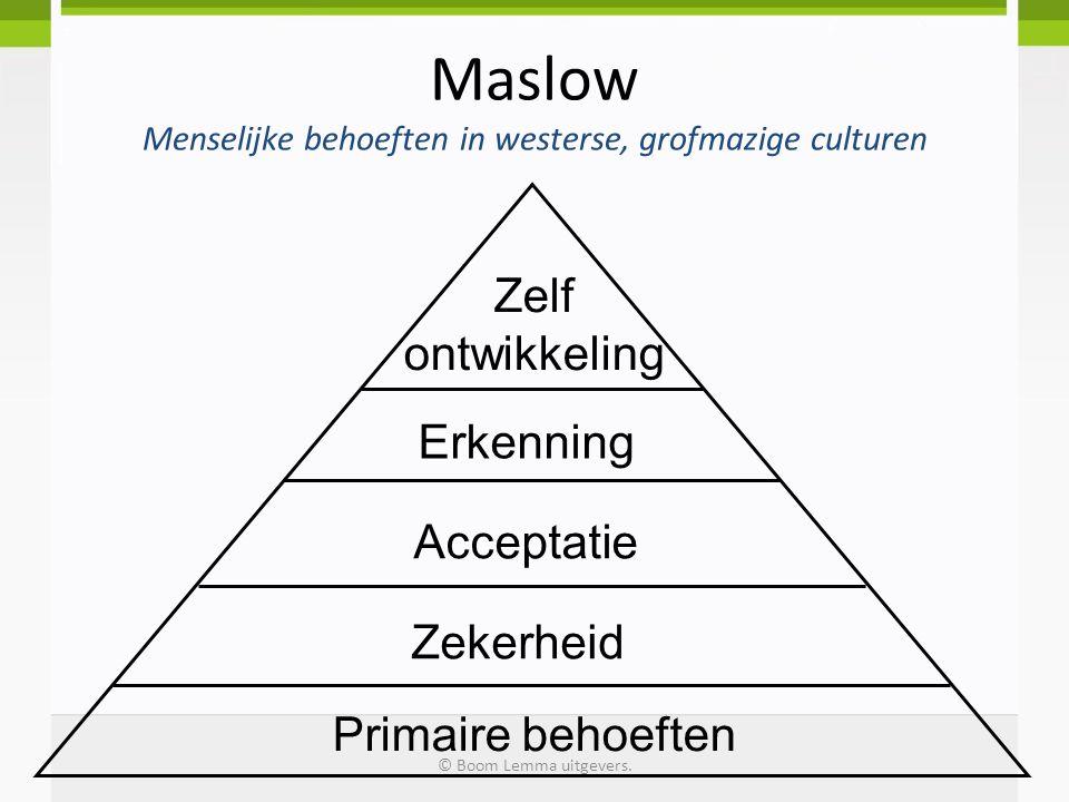 Maslow Menselijke behoeften in westerse, grofmazige culturen