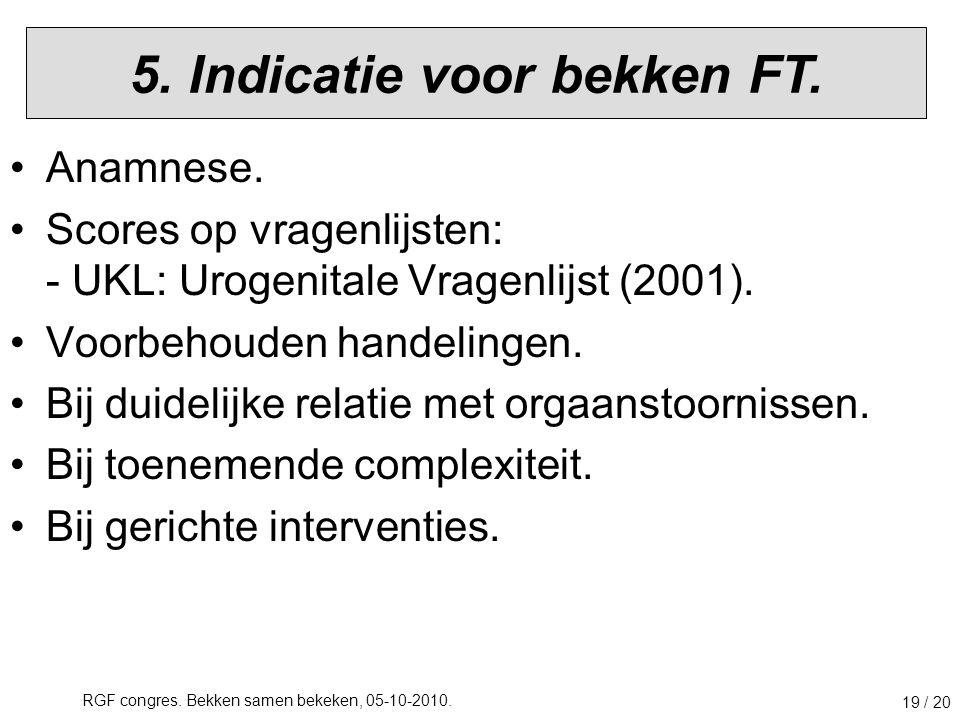 5. Indicatie voor bekken FT.
