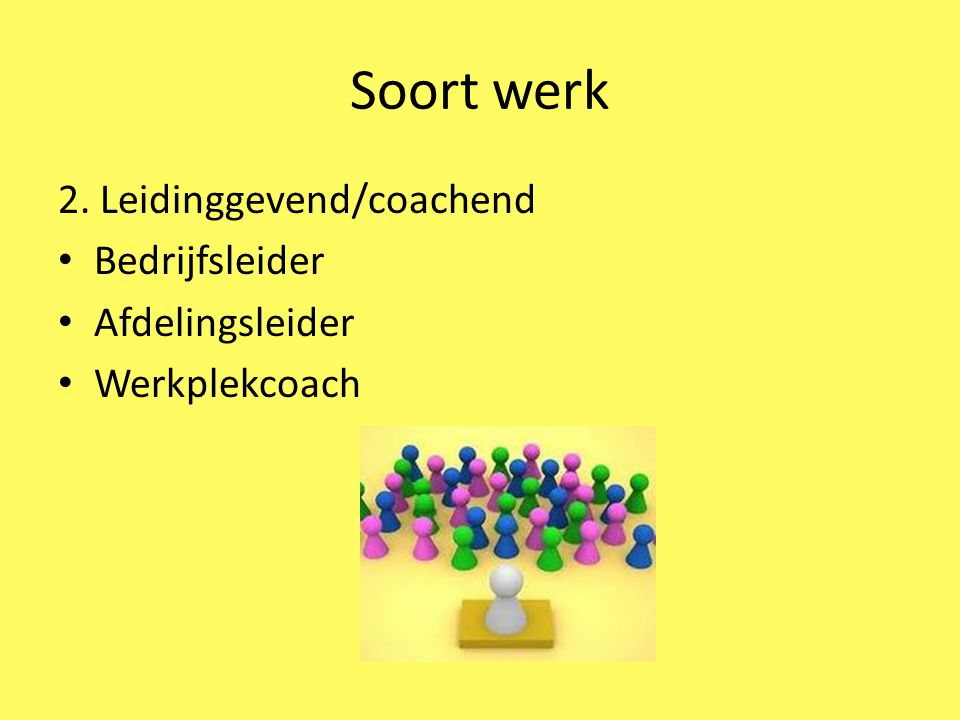 Soort werk 2. Leidinggevend/coachend Bedrijfsleider Afdelingsleider