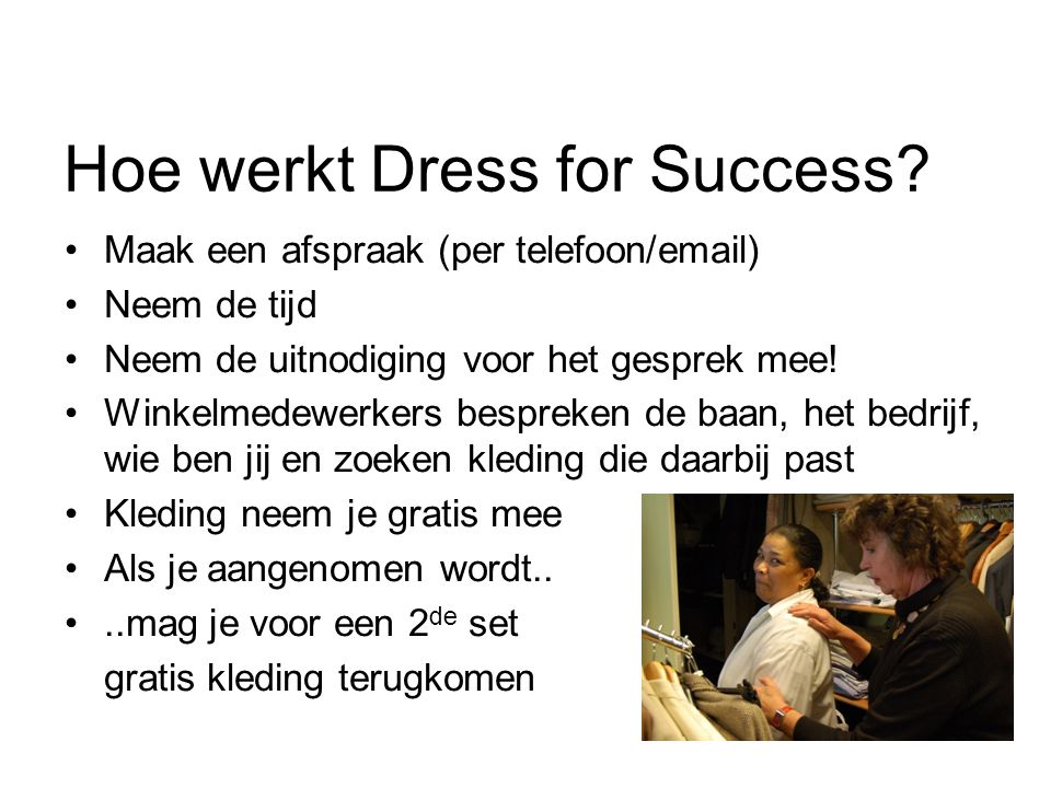 Hoe werkt Dress for Success