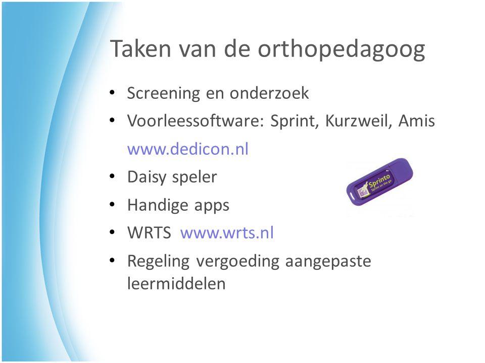 Taken van de orthopedagoog