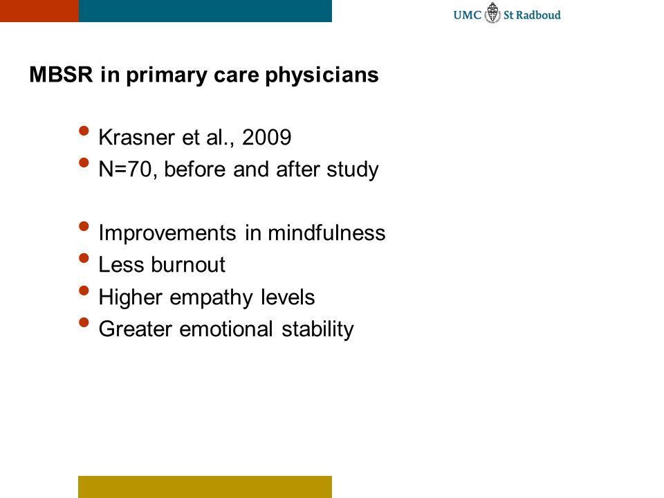 MBSR in primary care physicians